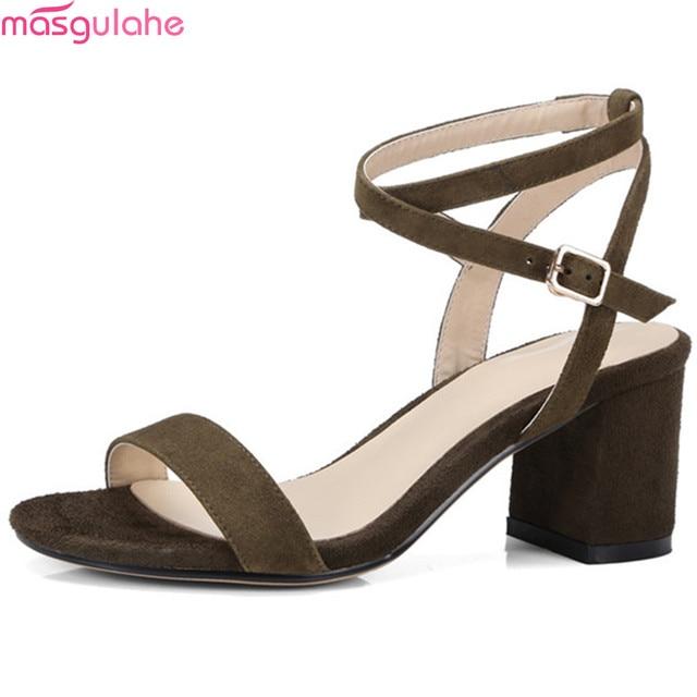 e987dae0df1f5 Masgulahe negro ejército verde hebilla señoras verano prom Zapatos  elegantes tacones altos mujeres sandalias de cuero