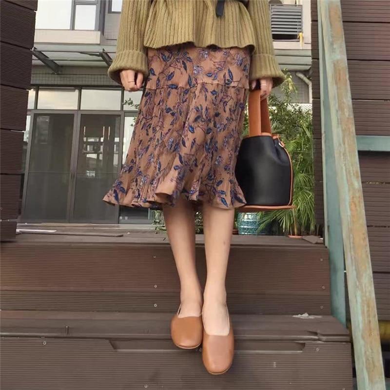 Windreama Vintage Pleated Skirt Retro Floral Skirts Womens Mid-Calf Mermaid Women Skirts