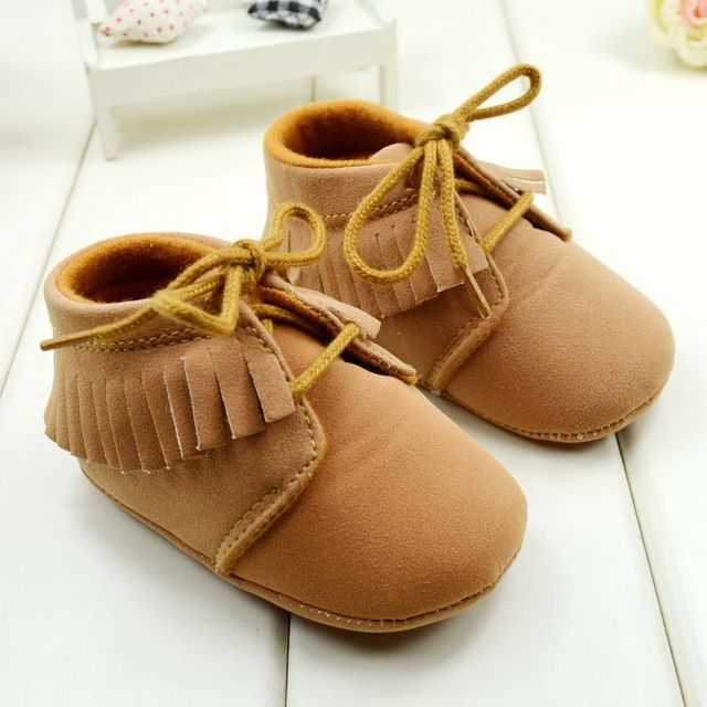 Мальчик Девочка Мокасины Soft Moccs Детская Обувь Bebe Fringe мягкой Подошве нескользящей Обуви Детская Кровать В Обуви Новый PU Замши новорожденный