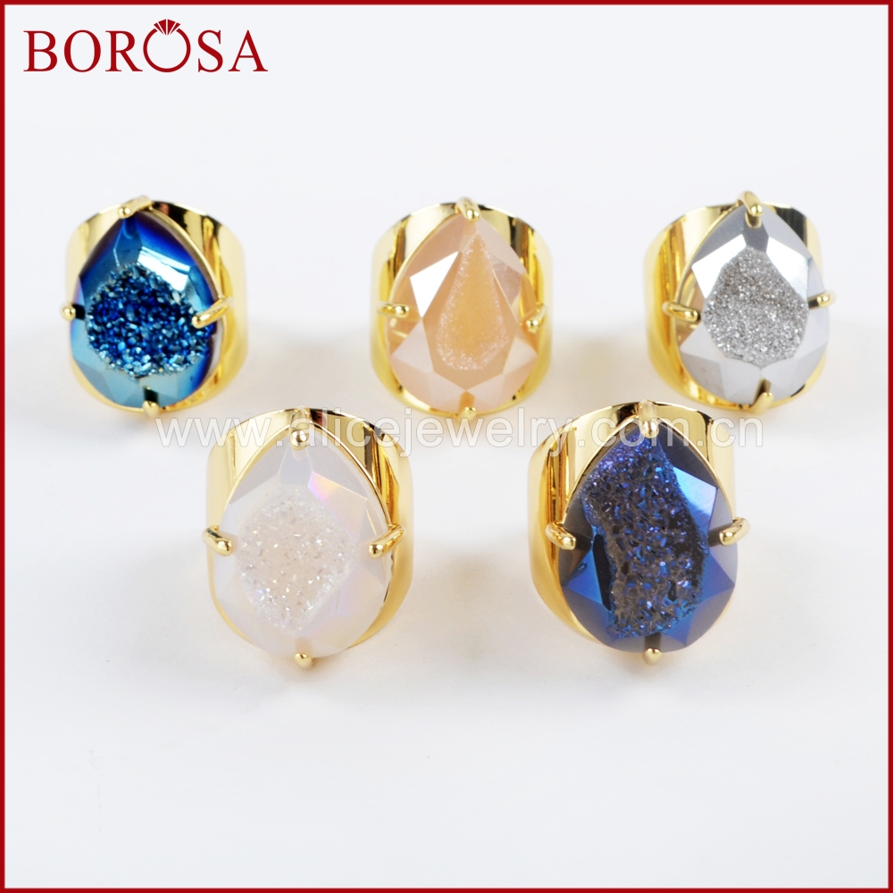 BOROSA 5PCS Teardrop Gold Color Claw Rainbow Titanium Druzy Faceted Ring Rainbow Drusy Bang Rings Jewelry