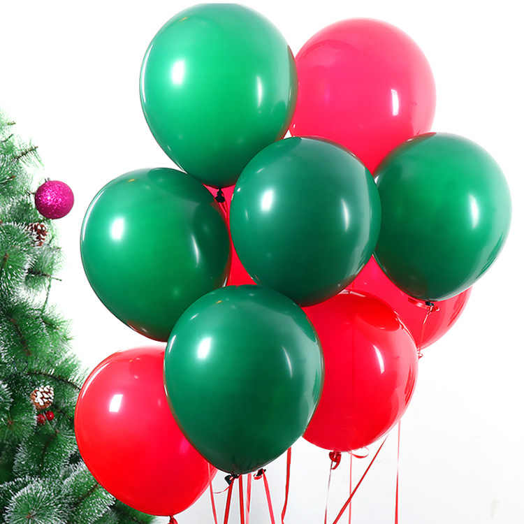 10inch 10pcs/set Red Balloon Green Balloon Color Mixed Christmas Party Balloons Interior Decorations Santa Claus Latex Balloons
