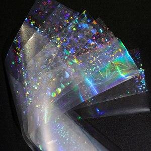 Image 2 - 8 sztuk holograficzne naklejki foliowe na paznokcie kolorowe naklejki Transfer gwiaździste naklejki suwaki do dekoracji tipsy narzędzia do manicure