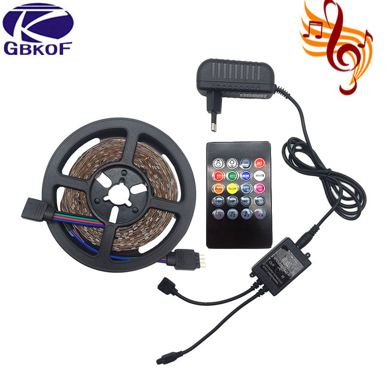 5M 10M 3528 Led Strip RGB Non Waterproof 5m/roll 60leds/m SMD LED Stripe Light+DC12V Power Adapter+Music Remote Controller