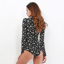 Free Shipping Women Bodysuits Long Sleeve Star Jumpsuit Romper Turtle Neck Stretch Bodycon