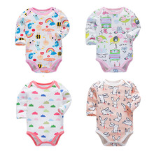 4pcs set  Tender Babies New baby jumpsuit multi-style long-sleeved printed tights autumn cotton Baby suit