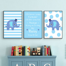 Cartoon Baby Child Elephant Wall Art Canvas Painting Nordic Posters And Prints Animals Quotes Pictures Kids Room Decor