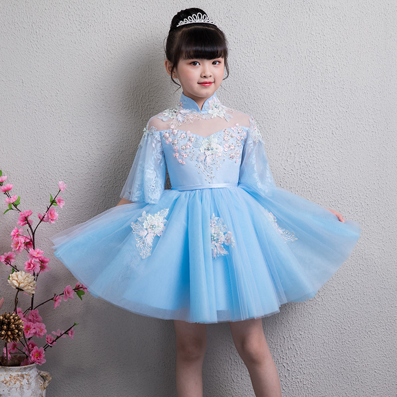 2018 New High Quality Children Girls Evening Party Birthday Princess Lace Flowers Prom Short Dress Baby Kids Piano Pageant Dress summer new high quality baby kids birthday wedding party princess lace short dress little girl toddler evening party tutu dress