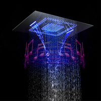 Bluetooth Music Showerhead LED Light Shower Music Waterproof Speaker Showerhead Waterfall,Misty Bathroom 304SUS Showers 60*80cm