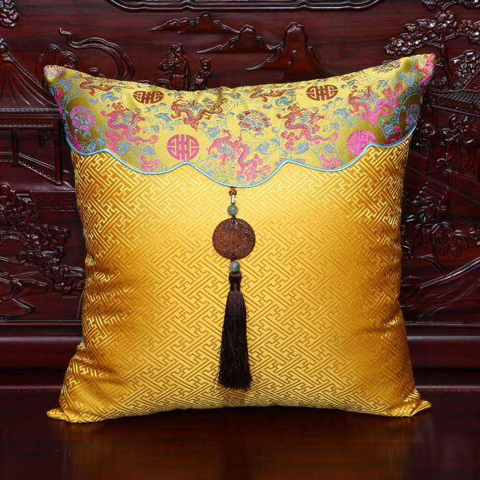 Handmade Jade Big Cushion Covers Office Home Decorative Lumbar Cushion Sets Chinese Retro Natural Real SIlk Throw Pillow Cases