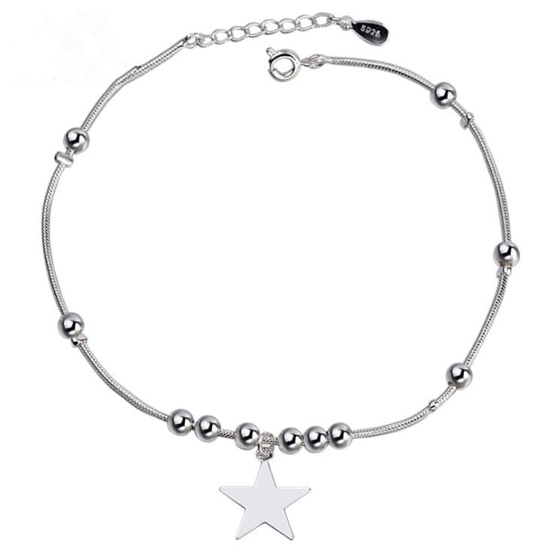 KOFSAC Female Trendy Lovely Stars Ankle Chain Bracelet Solid 925 Sterling Silver Chain Anklets For Women Gorgeous Jewelry Gift