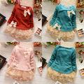 Bebé Vestido de Las Muchachas Del Suéter Del Knit Tops de Encaje Bowknot Princesa Vestidos de Ropa Informal