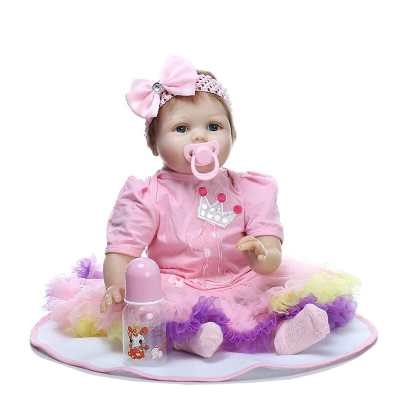 22 Realistic Lifelike Newborn Baby Doll Girl Cute Reborn Baby Dolls Soft Vinyl for Birthday Gift Reborn Bebe Brinquedos