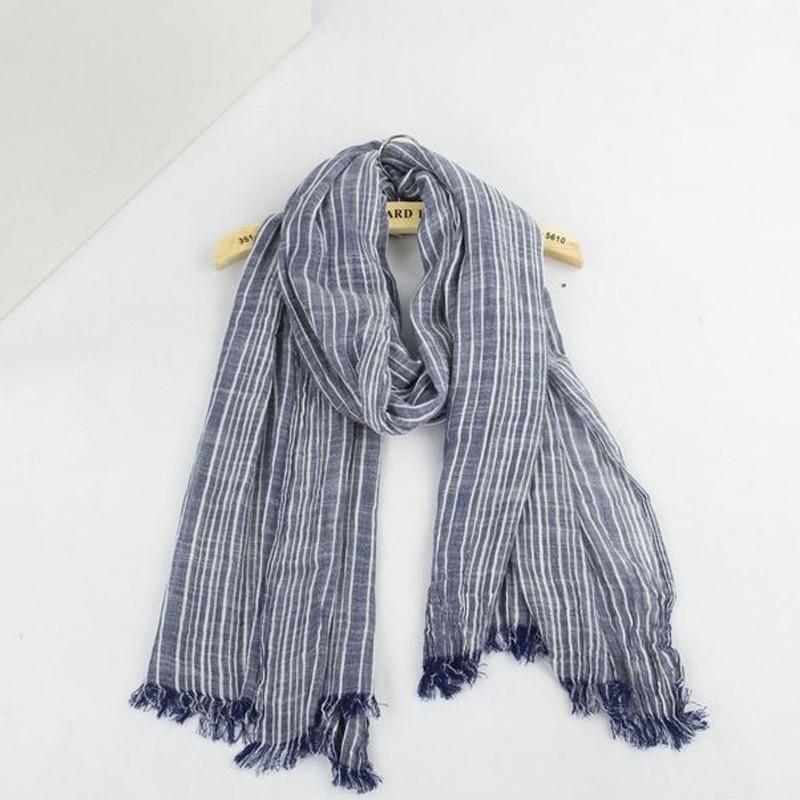 Spring Women and Men Scarf Cotton Linen Vintage Stripe Scarves Wraps 180*80cm  8Color