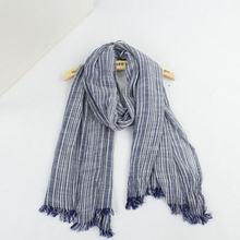 Spring Women and Men Scarf Cotton Linen Vintage Stripe