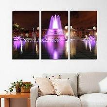 3 Pcs/Set No Framed Modern City Dark Night Purple Fountain Landscape Decoration Wall Art Pictures Canvas Paintings Home Decor