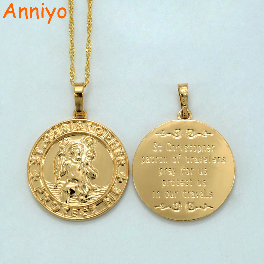 anniyo st christopher protect me necklaces for women girl