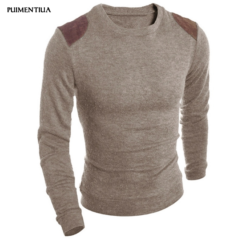 Puimentiua 2019 New Fashion Men's Casual Solid Sweater Patchwork Knitted Wear Crew Neck Slim Fit Long Sleeves Pullovers Males
