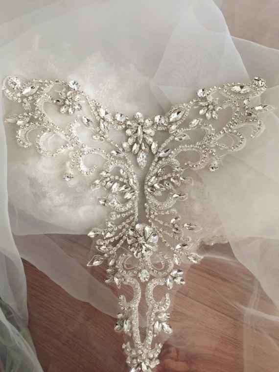 Silver Rose Gold  Delicate Rhinestone Applique Collar, Beaded Diamante Applique , Wedding Sash Bridal Belt Applique