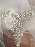 Argento Oro Rosa Delicato strass applique collare, in rilievo diamante applique, fusciacca nastro da sposa da sposa applique