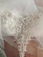 Silver Rose Gold Delicate Rhinestone Applique Collar Beaded Diamante Applique Wedding Sash Bridal Belt Applique