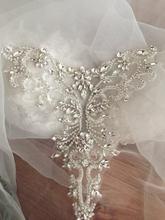 Серебряная роза золото деликатные стразы аппликация воротник, бисером стразы аппликация, свадебный пояс, лента аппликация