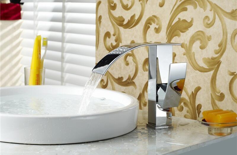 New deisgn Chrome Finish Brass Deck Mounted Waterfall Bathroom Basin Faucet bath wash sink faucets kitchen taps mixerNew deisgn Chrome Finish Brass Deck Mounted Waterfall Bathroom Basin Faucet bath wash sink faucets kitchen taps mixer