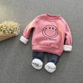 2017 winter Girls Kids boys Embroidered smile face letters plus velvet sweater + pants suit  baby Clothes Children Clothing 20W