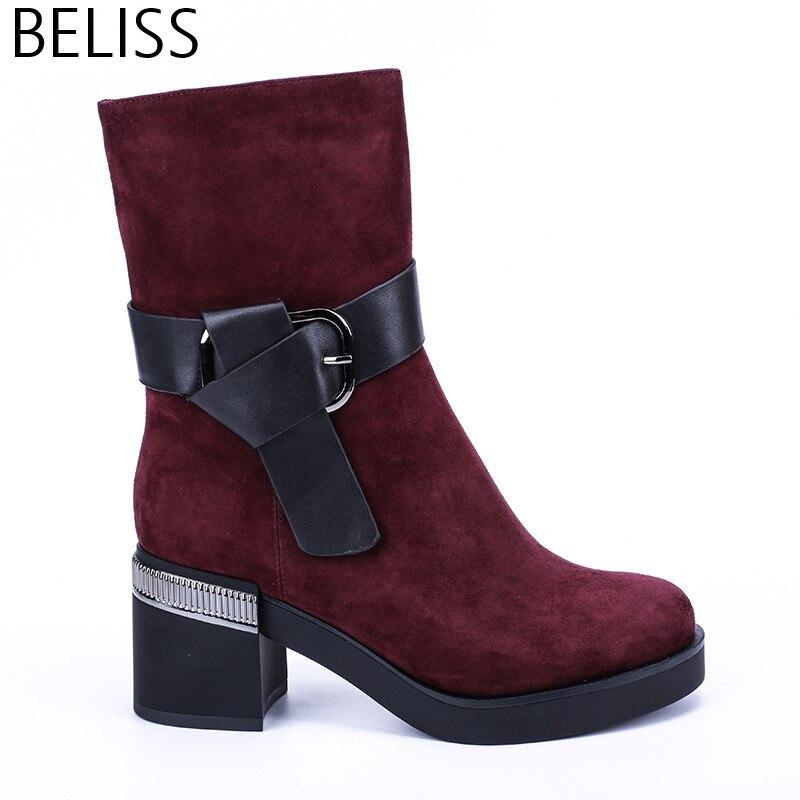 BELISS 2018 mode d'hiver bottes femmes mi-mollet en cuir véritable bout rond bottes de neige dames talons hauts boucle plate-forme B48