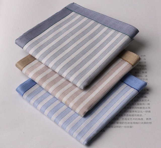Free postage - striped 100% cotton handkerchief men handkerchief