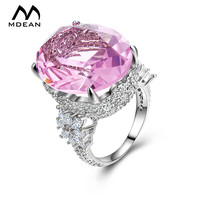 MDEAN Pink Stone White Gold Plated Wedding Rings For Women Engagement Vintage Big CZ Diamond Jewelry