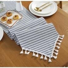 Modern Stripe Tassel Table Runner Vintage Cotton Linen Wedding Party Shoe Cabinet Cover Xmas Decor Home Textile