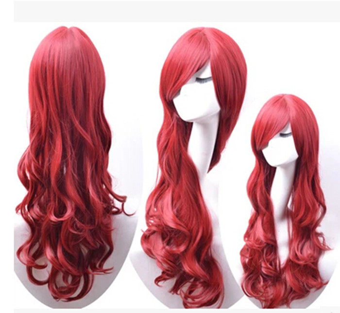 New The Little Mermaid Wig Princess Ariel Red Wig Anime Cosplay Role Play Wig Hair Decoration with hair net