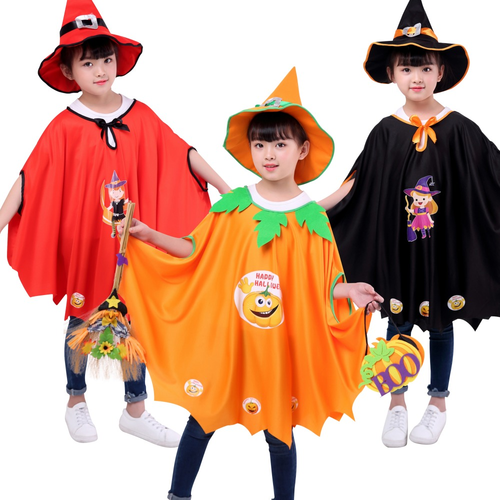 2018 Hot !Halloween Children's Cape Girl Performance Costume Sorcerer Witch Cloak Set Ghost Pumpkin Cloak 4-11Year