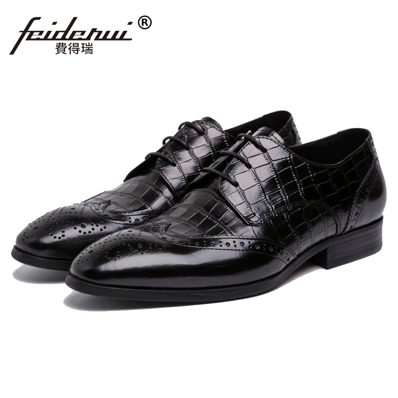 High Quality Man Wing Tip Brogue Shoes Genuine Leather Platform Bridal Carved Oxfords Derby Men's Handmade Bridal Flats BH30 ruimosi high quality wing tip man dress