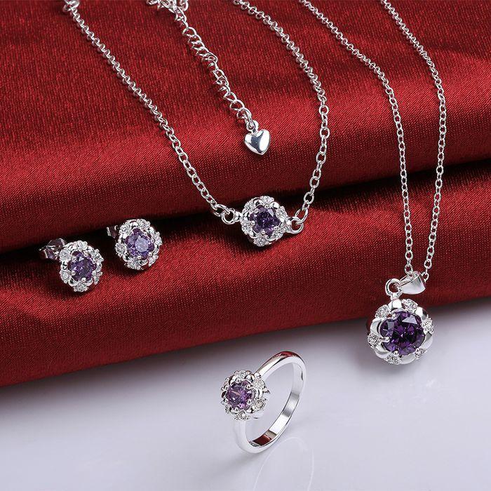925 Sterling Silver Jewelry Set, Monili Di Modo Impostato A033-c Orecchino 434 Collana 467 Anello 332-8/imnardua Ikaarbha S782-c