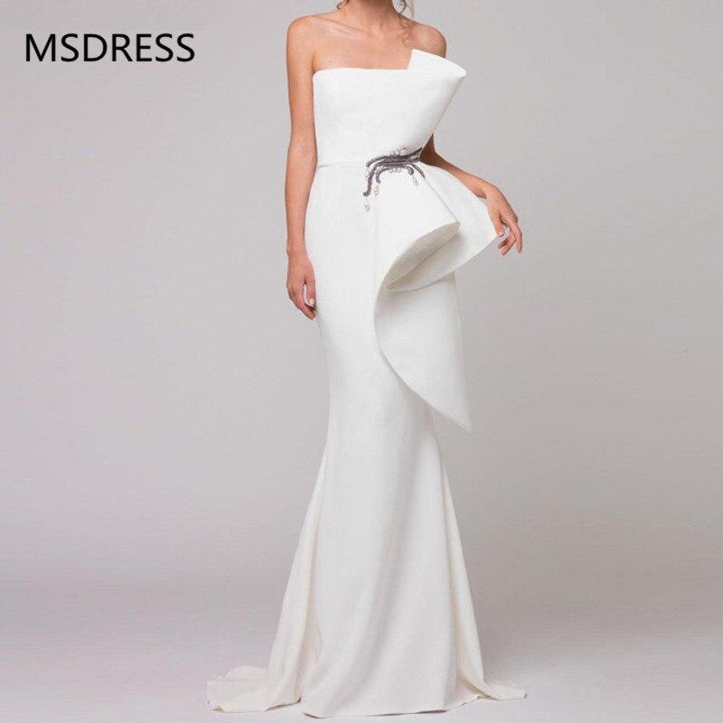 Robe formelle élégante robes de soirée blanches 2019 Satin volants perlé saoudien arabe sirène robe de soirée longue abendkleider