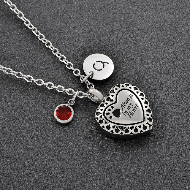 Always in my heart cremation urn necklace memorial jewelry for ashes always in my heart cremation urn necklace memorial jewelry for ashes personalized birthstone pendant aloadofball Images