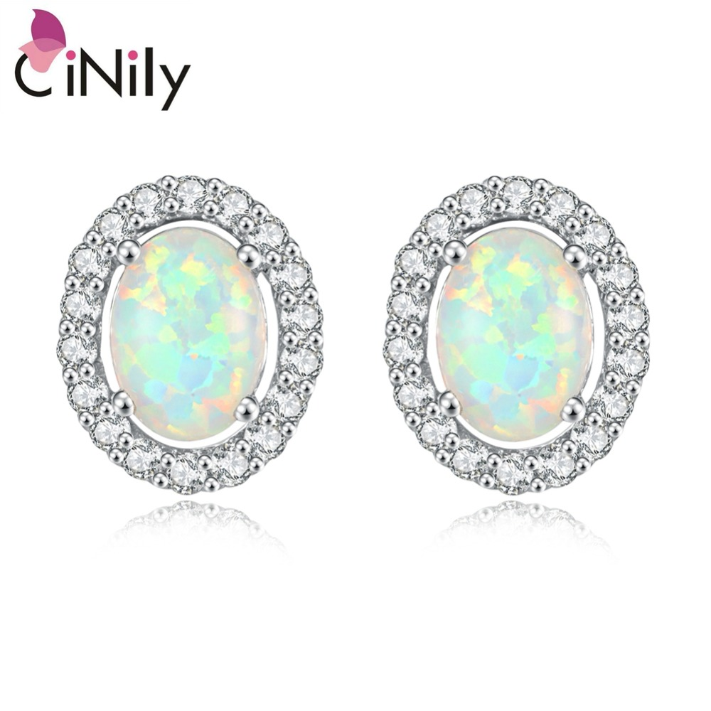 CiNily Created White Fire Opal Cubic Zirconia Silver Plated Wholesale Hot Sell for Women Jewelry Stud Earrings 12mm OH2007 starry pattern gold plated alloy rhinestone stud earrings for women pink pair