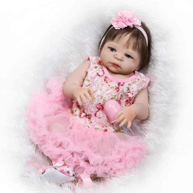 New Full Silicone Reborn Baby Dolls 22 Girl Body Newborn Baby Size Similar Real Human Hair Rooted Child Baby Gift Reborn Boneca new arrived 55 60cm silicone reborn baby dolls fridolin sweet girl real gentle touch rooted human hair with pink dress newyear