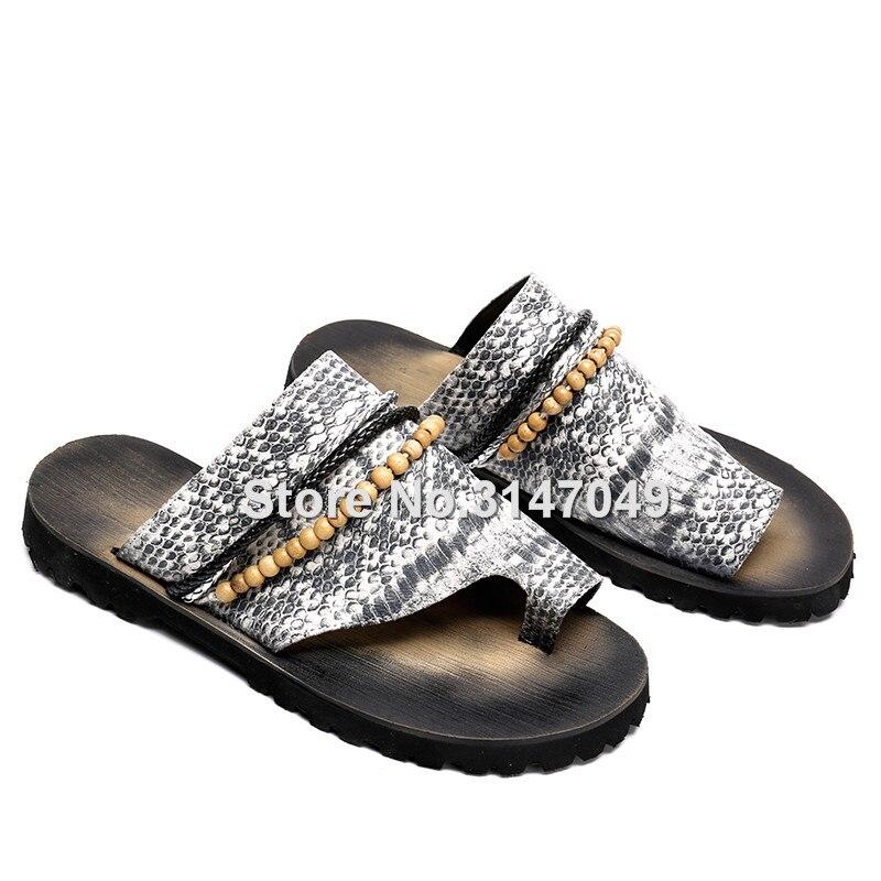 Okhotcn 2018 جديد الأفعى الرجال الرجال الصيف الأحذية صندل النعال الرجعية الكلاسيكية سلسلة حبة الشاطئ أحذية المطاط عدم الانزلاق الوجه يتخبط-في صنادل بإصبع من أحذية على  مجموعة 3