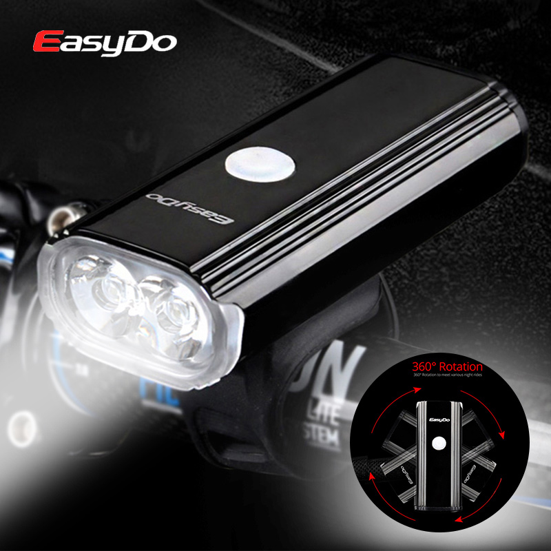 Easydo 1000Lumen USB Rechargeable Bicycle Light 2 LED Bike Headlight MTB Road Front Head Lamp Cycling Flashlight For Bike 4400mA nitenumen 1800lumens bike front light cycling headlight bicycle rechargeable flashlight waterproof 6400mah led head lamp for mtb