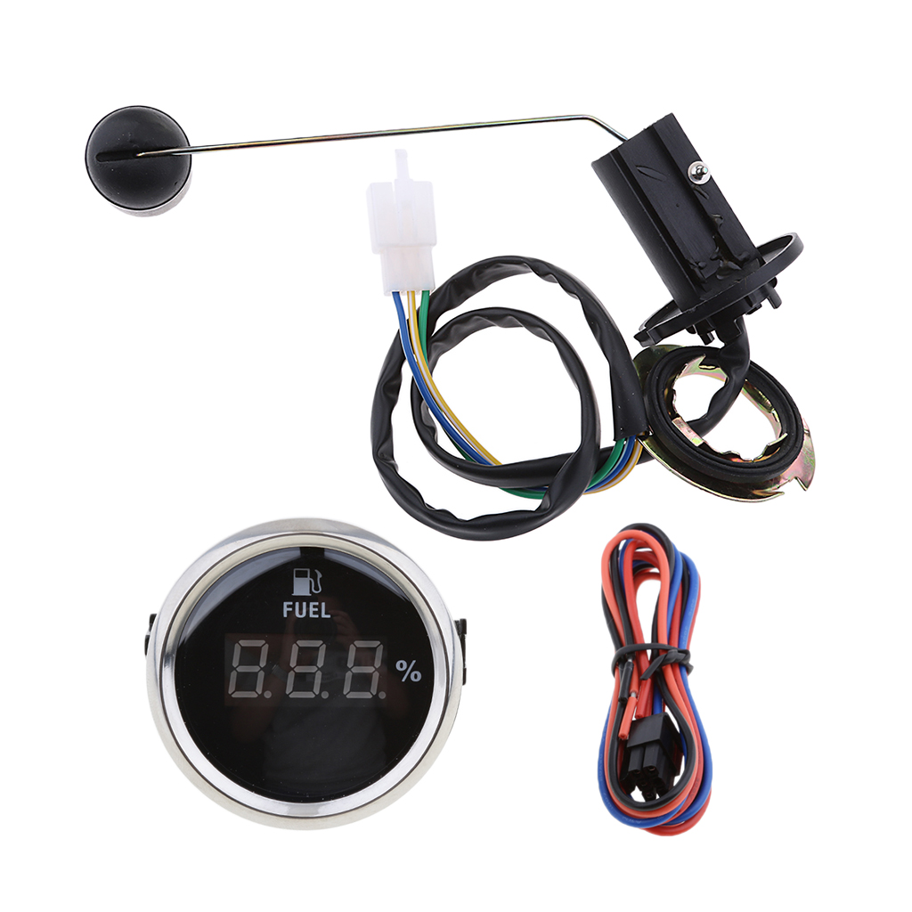 Universal 2' Fuel Tank Level Gauge With Sender & Float Combo Set Digital Fuel Level Gauge Vehicle Motorcycles Accessories