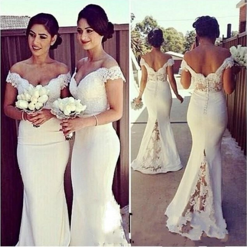 Long Mermaid Evening Dresses Lace Sleeve Evening Dress Cheap White Elegant Formal  Gowns Floor Length Robe De Soiree Buttons-in Evening Dresses from Weddings  ... 90a69fb64f15