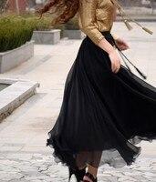 ยาวสุดใหม่แสดงบางเอวสูงกระโปรงผู้หญิงแฟชั่นกระชับสีทึบปั่นทองชีฟองกระโปรงสำหรับพรรคขอ...