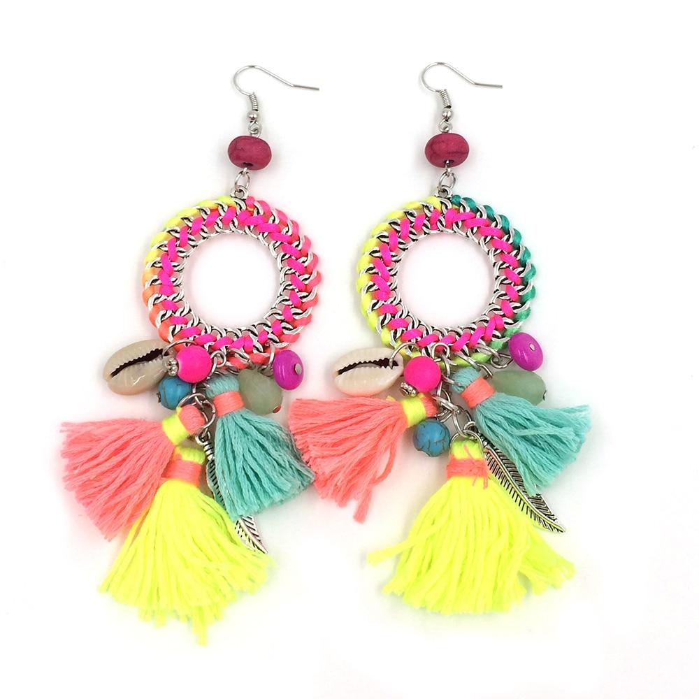 Neue ethnische böhmische baumeln Ohrringe mit Baumwollquaste-bunten - Modeschmuck - Foto 4