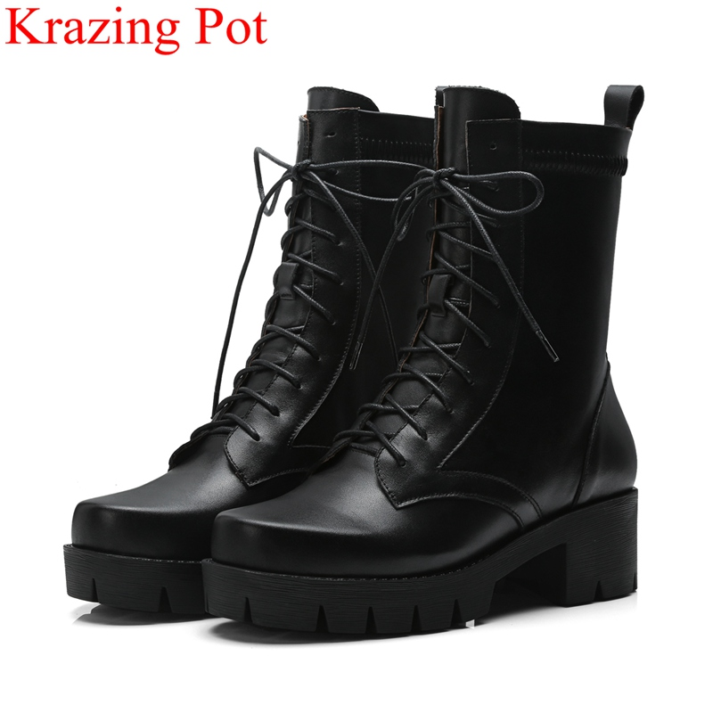 2018 new arrival superstar cow leather round toe high heels lace up mid-calf boots classics platform women motorcycle Boots L00 цена