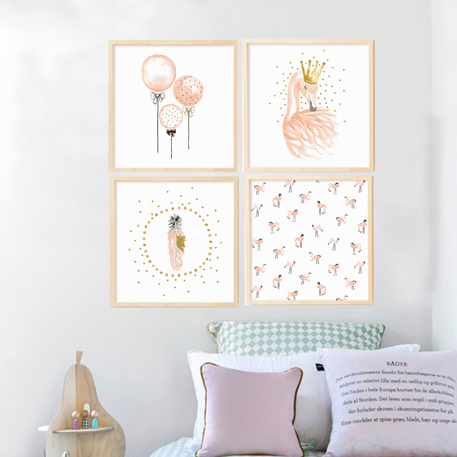 Abstract cartoon balloon swan mural nordic modern canvas art print poster wall pictures kids for Canvas prints childrens bedrooms