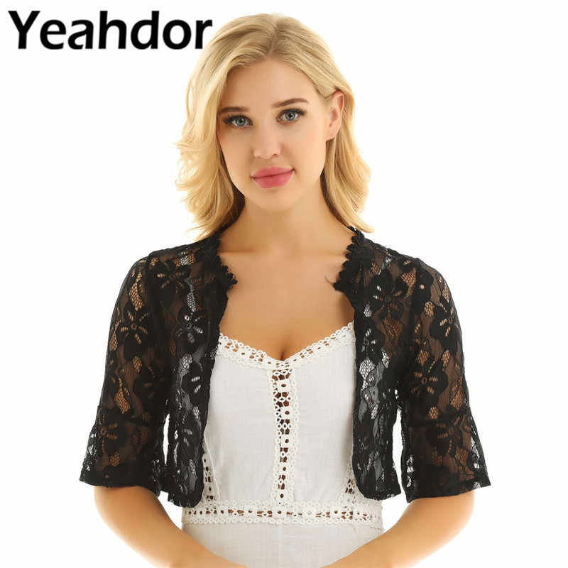 Women Female Fashion Floral Lace Wrap Half Bell Sleeve Open Front Sheer Floral Lace Bolero Shrug Shawl Bridal Cardigan Tops Coat