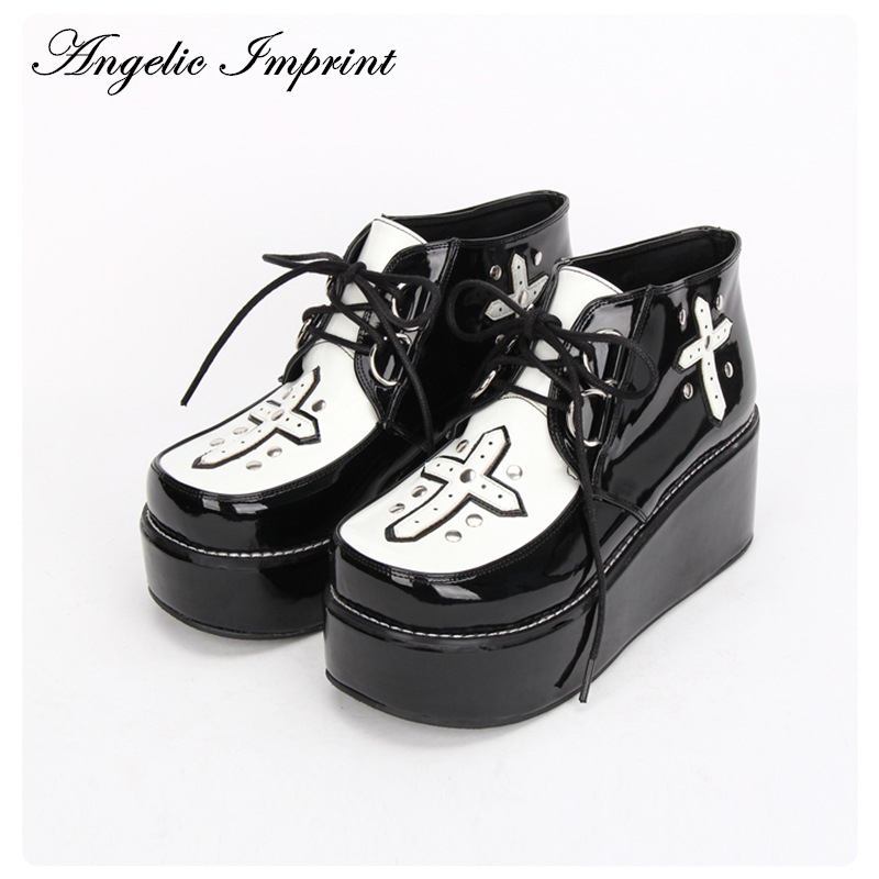 Japanese Harajuku Punk Cosplay Super Cool Rivet Cross Lace-up Platform Shoes 9702
