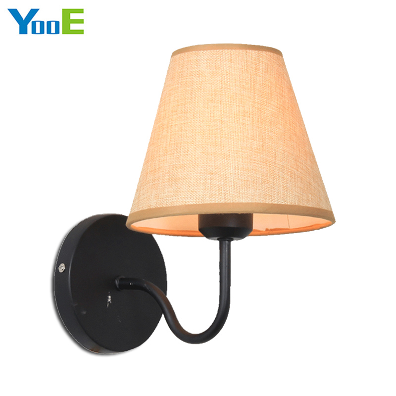 YooE Indoor lighting iron wall lamps 110V 220V E27 cloth lampshade modern wall lights for bedroom